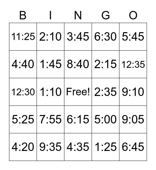 TIME-O Bingo Card