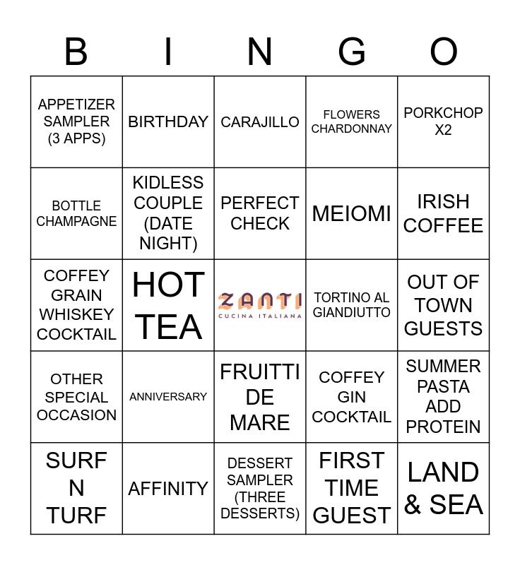 ZANTI'S SUNDAY FUNDAY Bingo Card