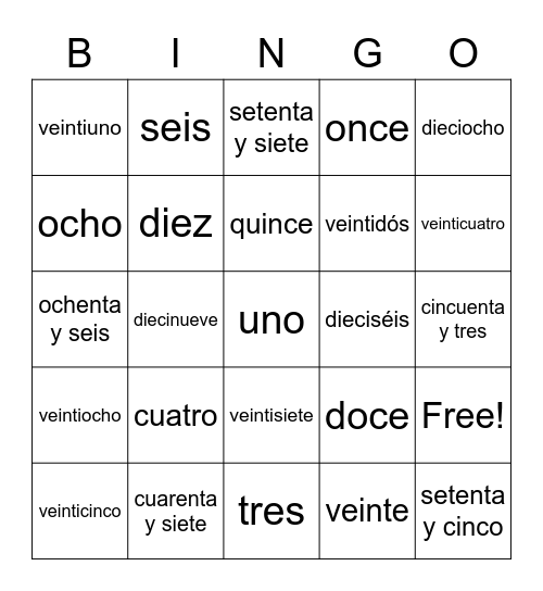 Numeros 0-99 Bingo Card