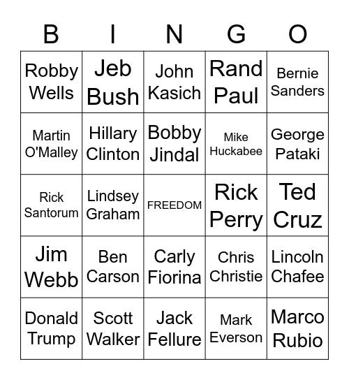 2016 Election Bingo Card