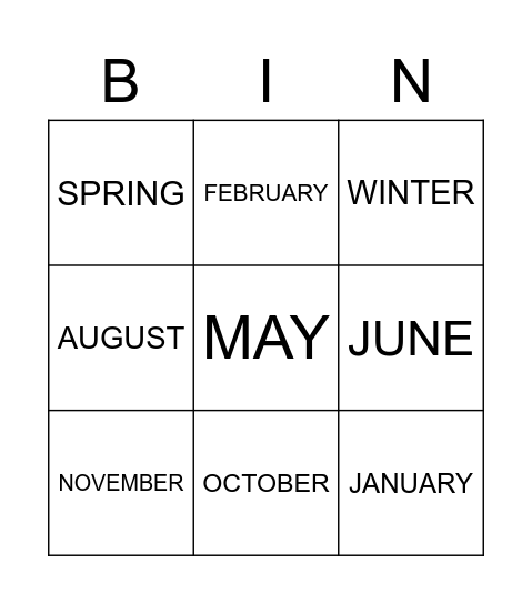 12 Months in a Year and 4 Seasons Bingo Card