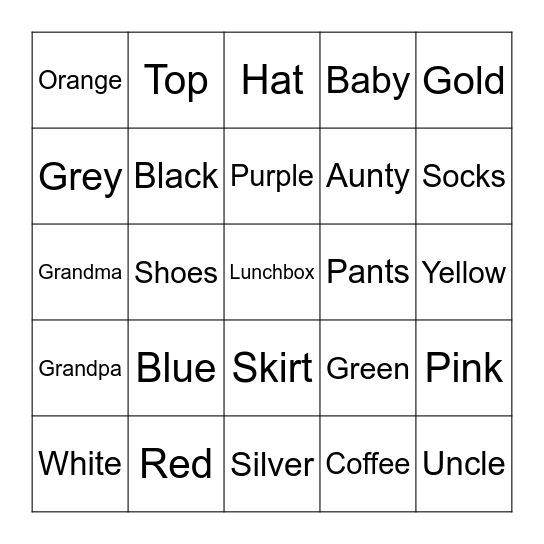 Family and Color Bingo Card