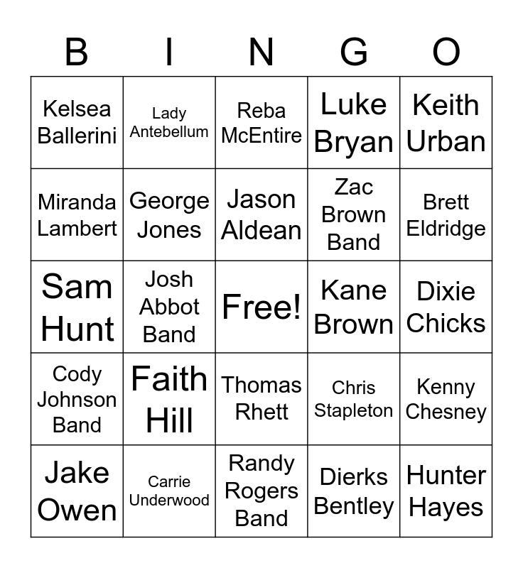 Country, Country Music  Bingo Card