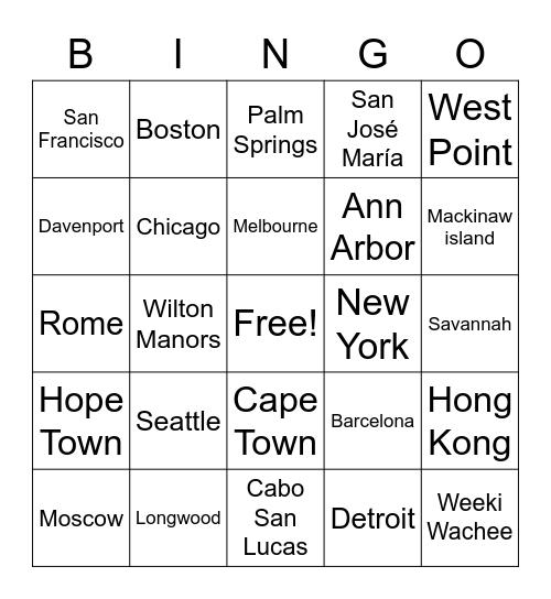 Cities Bingo Card