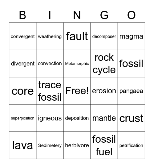 Geology Bingo Card