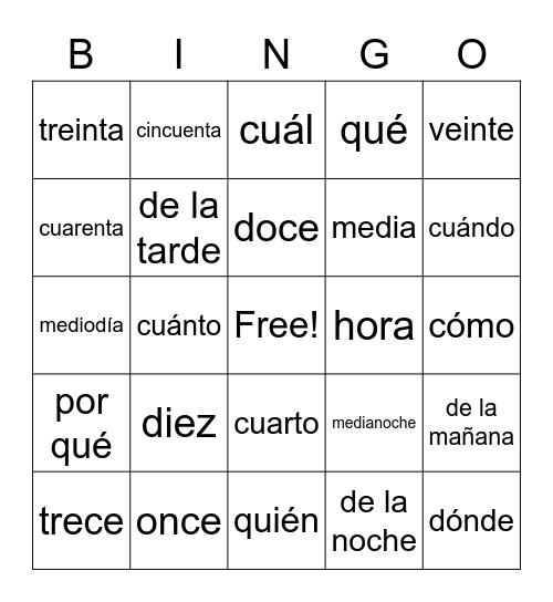 Spanish Words Bingo Card