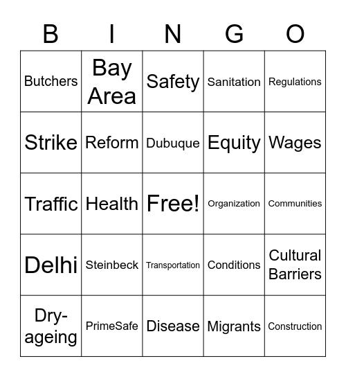 Small Business Bingo Card