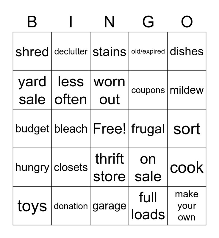 Cleaning Bingo Card