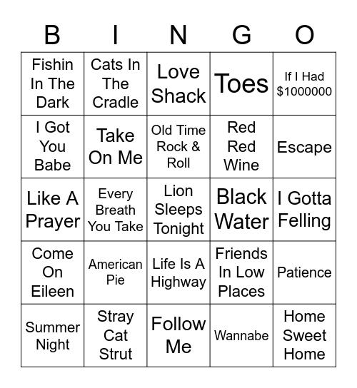 Sing Along Songs Vol. 1 Bingo Card