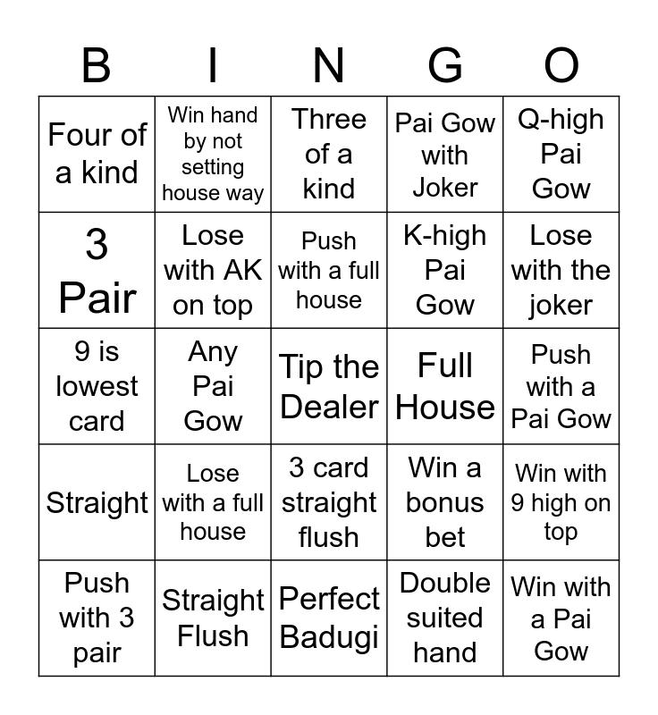 Pai Gow Bingo Card