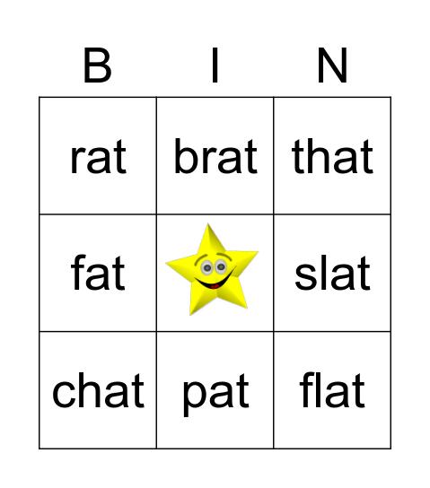 -at Word Family Bingo Card