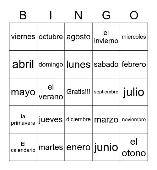 Spanish Calendar Bingo Card