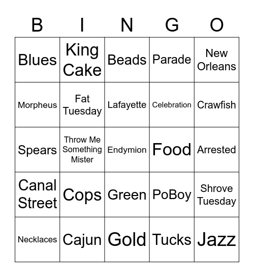 Mardi Gras Bingo Card