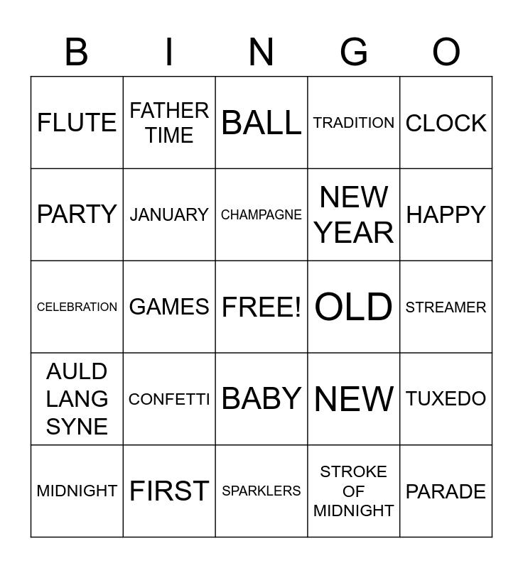 HAPPY NEW YEAR Bingo Card