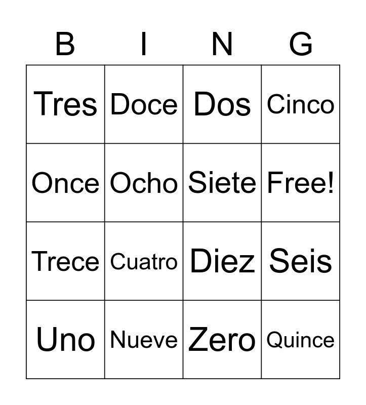Spanish Numbers Bingo Card