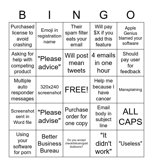 Email support Bingo Card