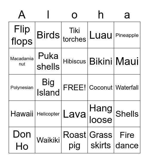Aloha Friendship Bingo Card