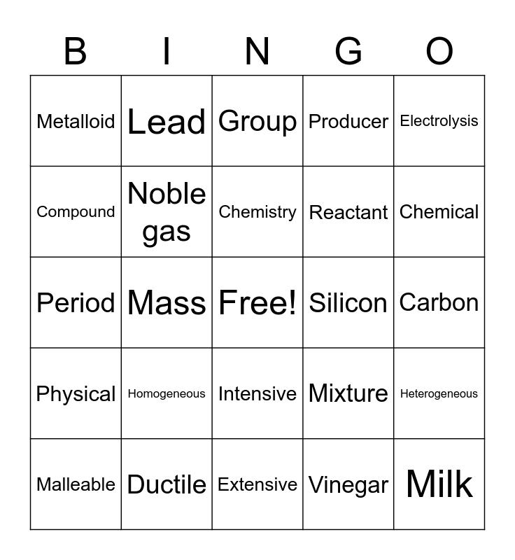 Chemistry Terms Bingo Card