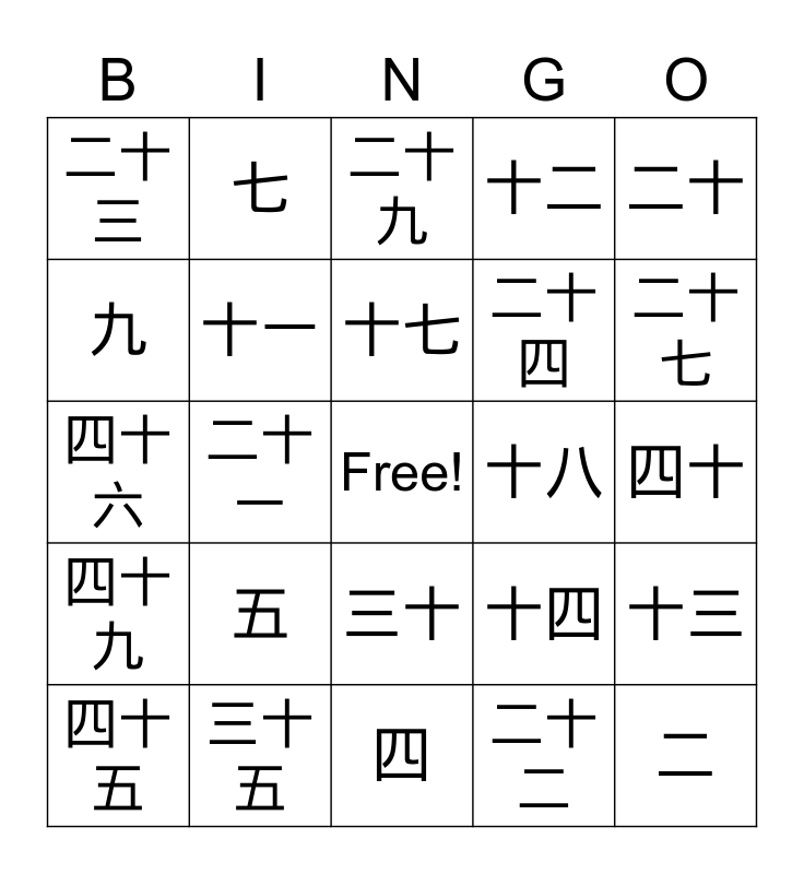 Chinese Numbers Bingo Card