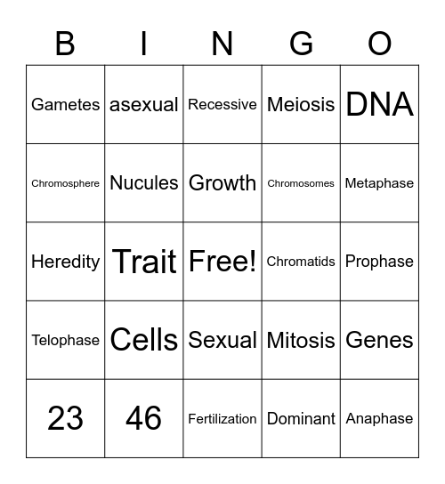 Genetics Bingo Card