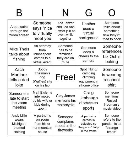 Summer 2020 Bingo Card