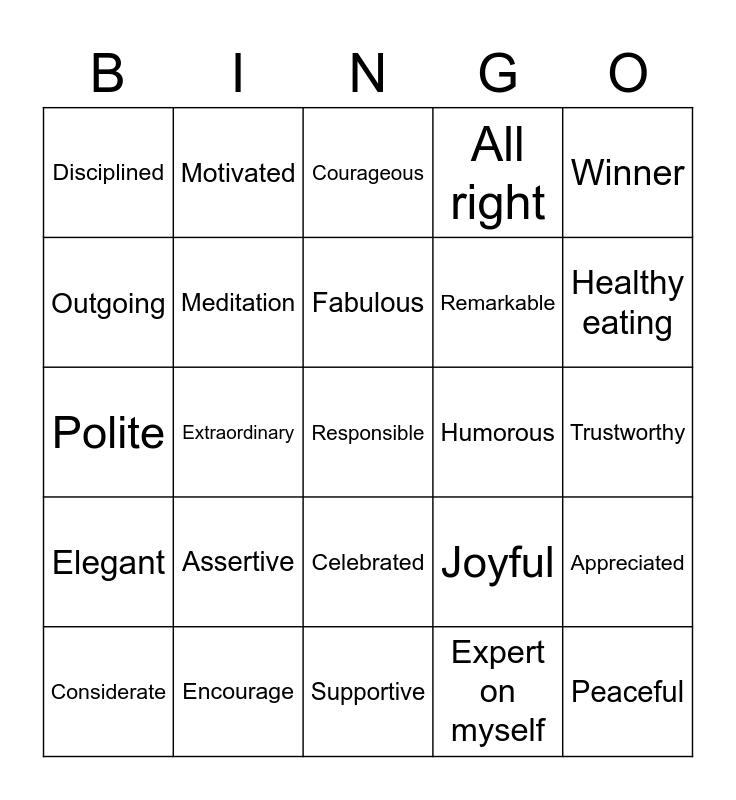 POSITIVITY & RECOVERY Bingo Card