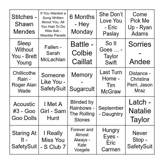 Bandom Bingo Round 1 Bingo Card