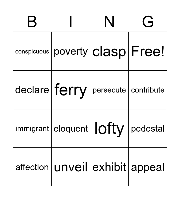 Statue of Liberty Bingo Card