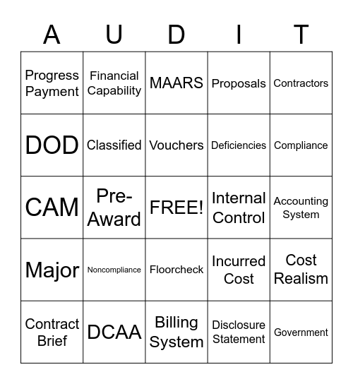 Audit Bingo Card