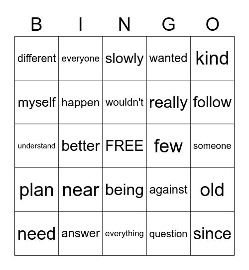 SIGHT WORD LIST H Bingo Card