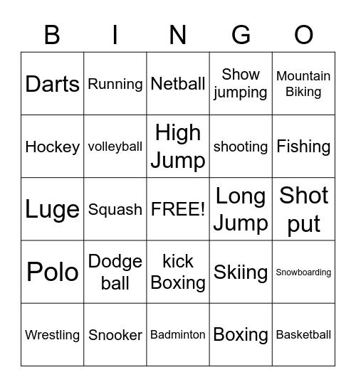 Sports Bingo Card
