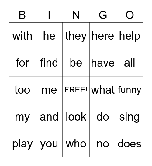 Sight Word Bingo 1 Bingo Card