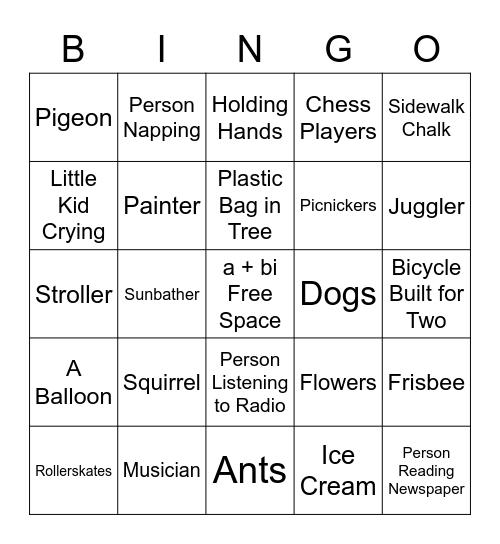 Park Bingo Card