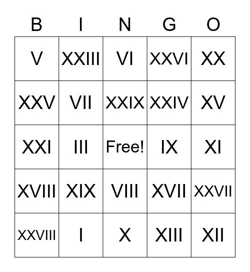 Romeinse Bingo, Roman Numeral Bingo Card