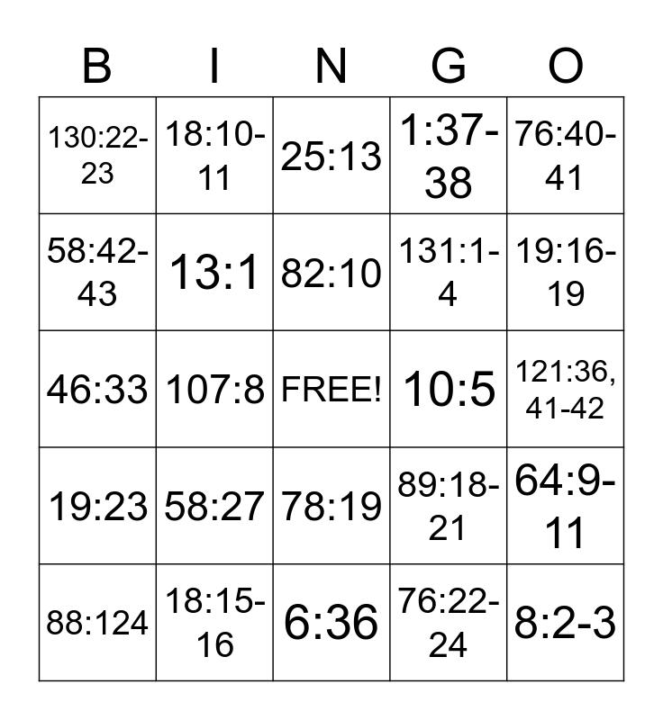 Valentine Scripture Mastery Bingo Card