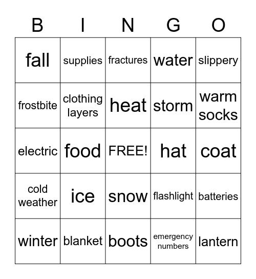 Winter Safety Bingo Card