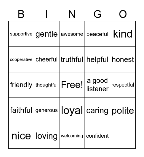 Buddy Bingo Card