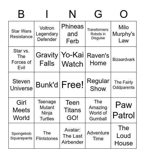 TV  Shows Bingo Card
