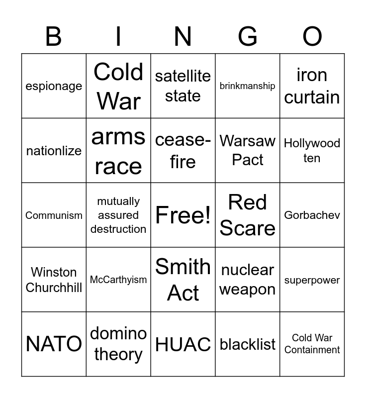 Cold War Review  Bingo Card