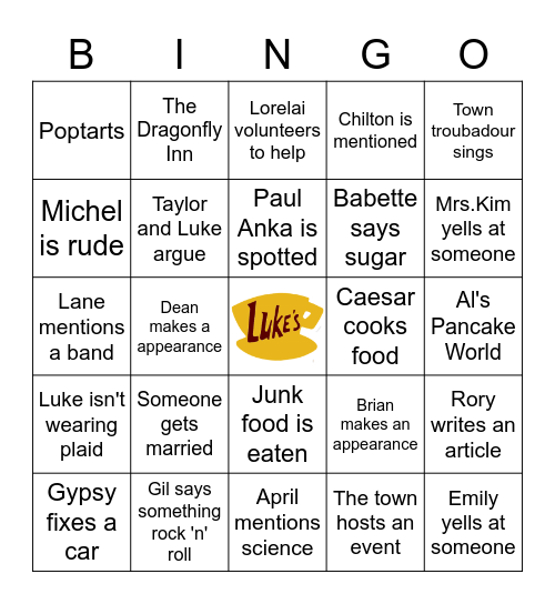 Gilmore Girls Bingo Card
