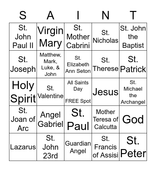 All Saints Day Bingo Card