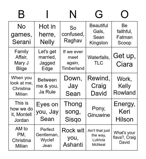Old skool rnb Bingo Card