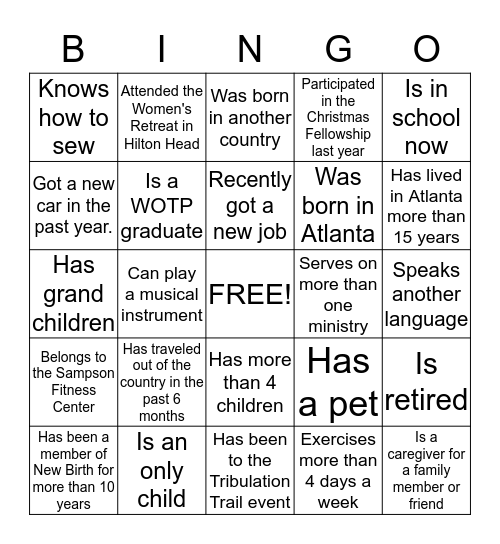 Getting To Know Our Greeters! Bingo Card