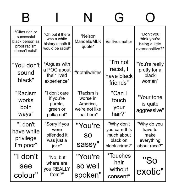 Microaggressions Bingo Card