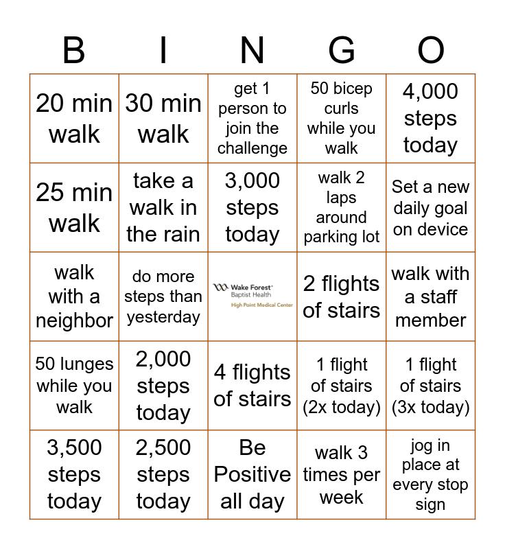 August 2020 Walking Challenge Bingo Card