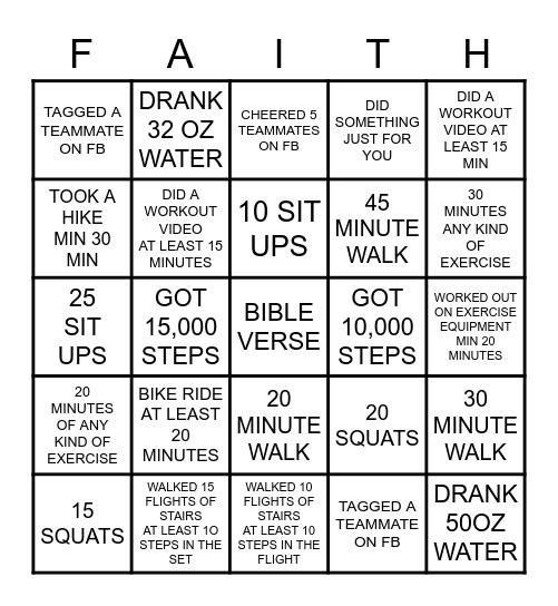 FAITH & FITNESS AUGUST 2020 Bingo Card