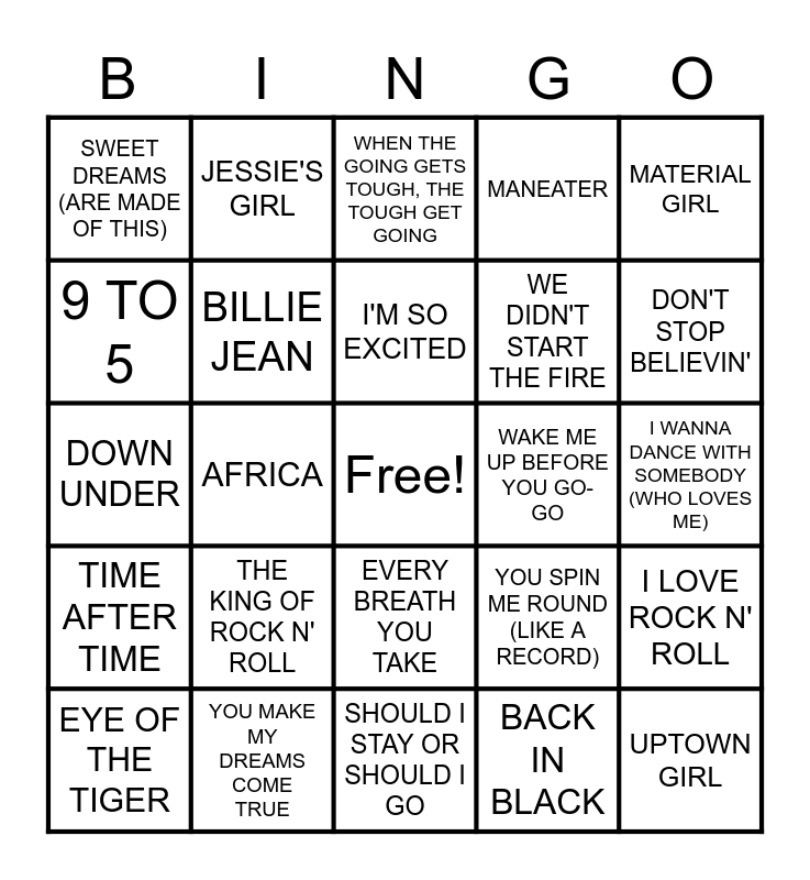 1980s SONGS Bingo Card