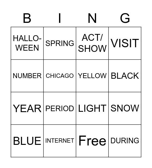 ASL CHAPTER 3 Bingo Card