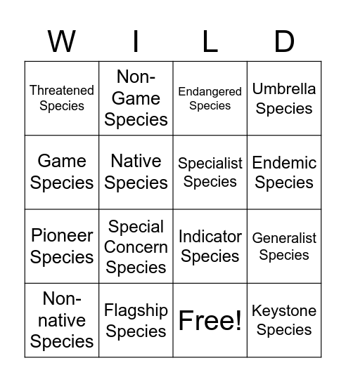 WILD Bingo Card