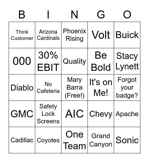 General Motors Bingo Card